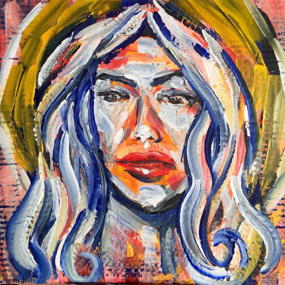 Lucy   2016. Acrylic on cardboard. 18 x 18.