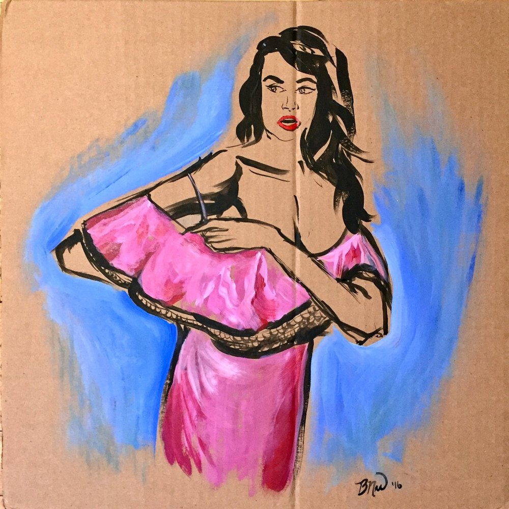 Woman in Pink   2016. Acrylic on cardboard. 18 x 18.