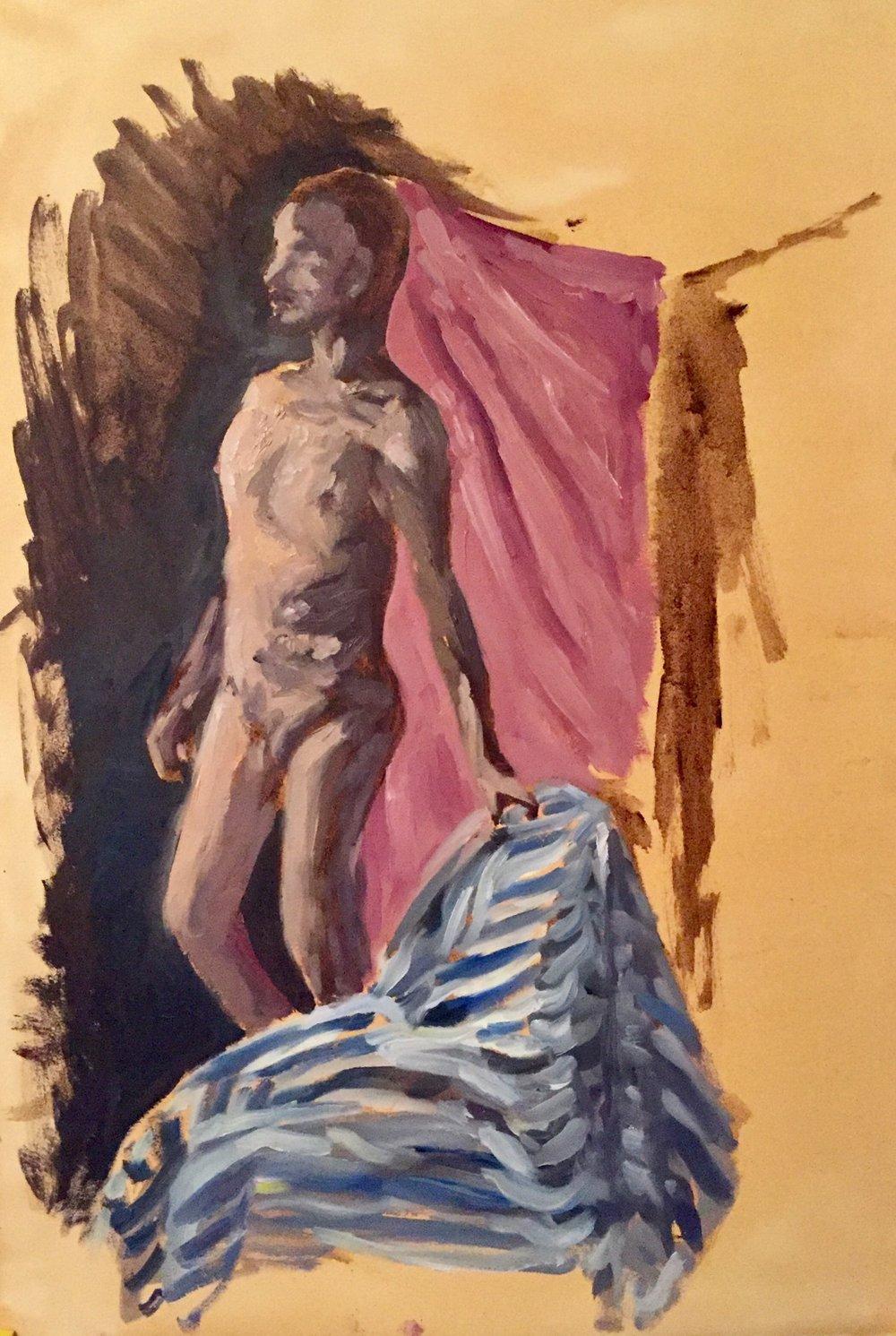 Figure Study II   2016. Oil on primed paper.