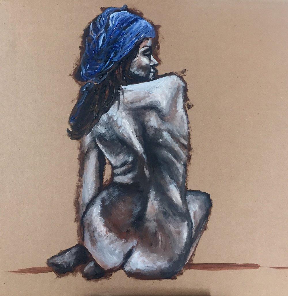 Woman with Blue Scarf   2016. Acrylic on cardboard. 18 x 18.