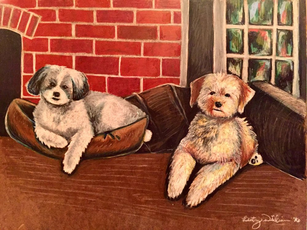 Goldring Pups   2017. Colored pencil on board. 12 x 16.