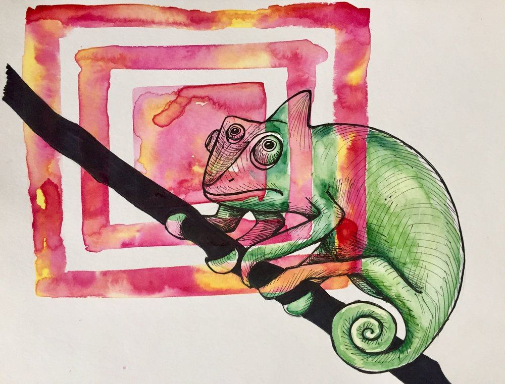 Chameleon   2017. Watercolor and ink on paper.