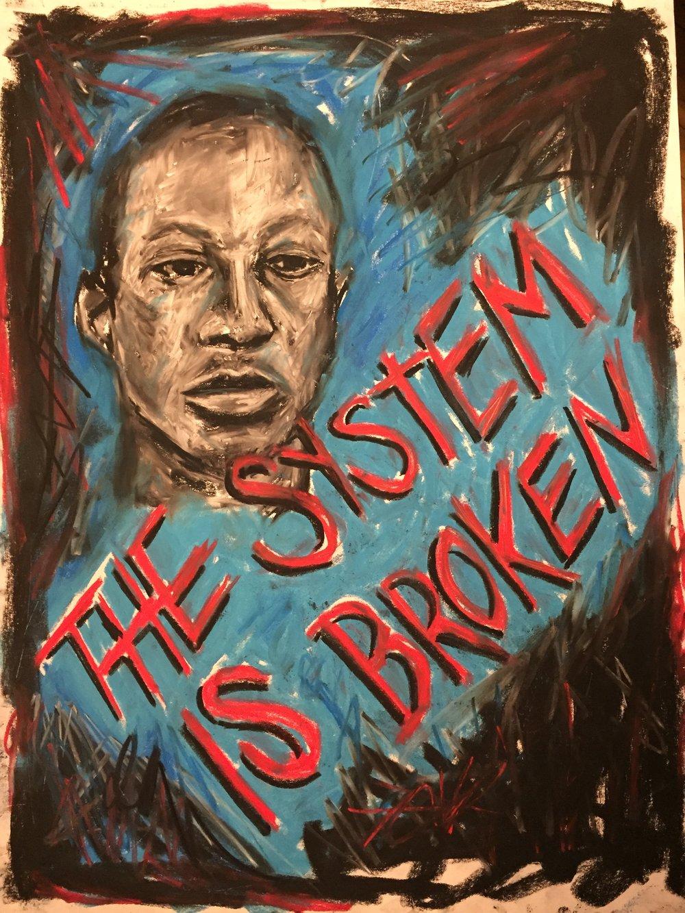 Kalief Browder. Don't Forget.   2018. Chalk pastel on paper. 18 x 24 in.