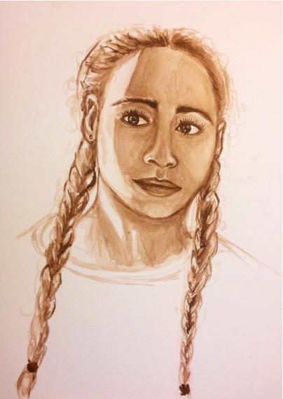 Self Portrait II   2015. Watercolor on paper. 11 x 18.