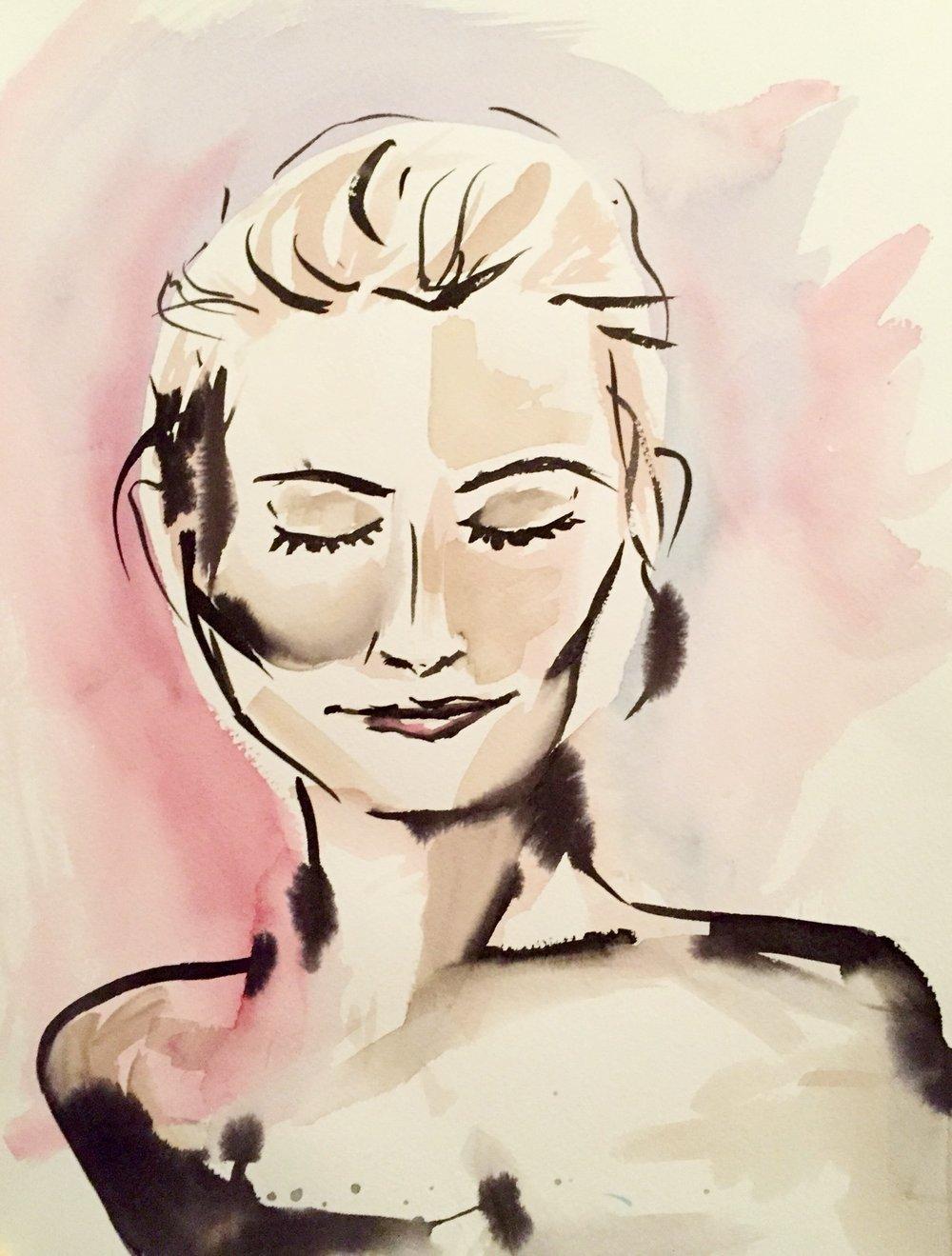 Breath   2016. Watercolor on paper. 11 x 18.