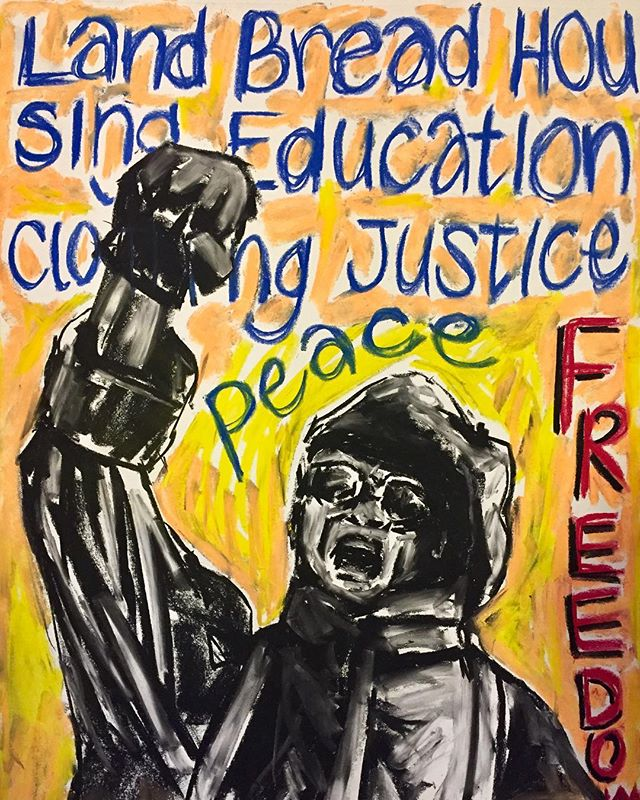 What does freedom look like ? #chalkpastel #art #protest #blackpanthers #freedom