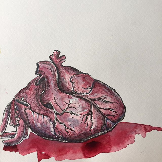 #art #heart #painting #ink #watercolor