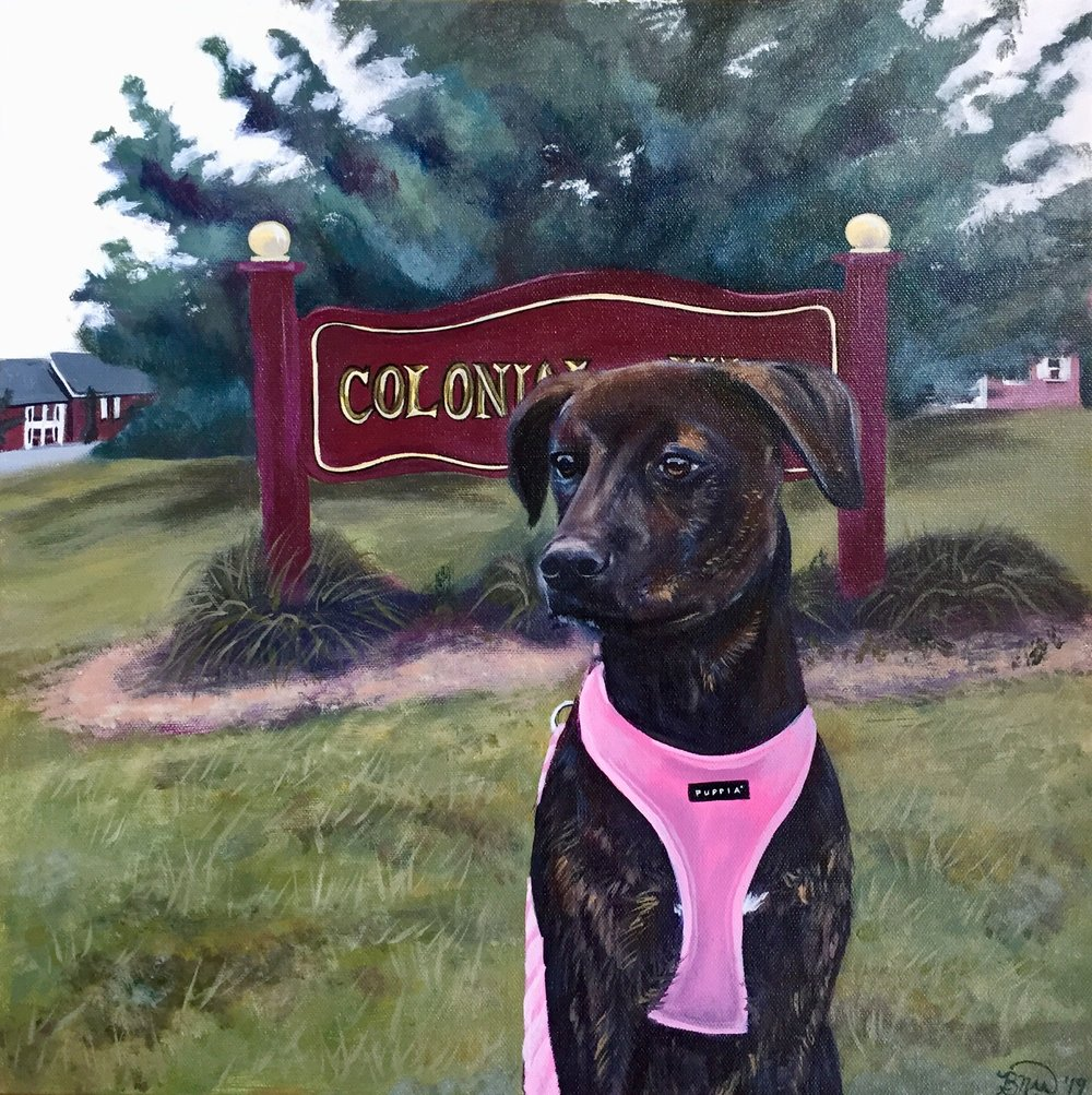Colonial View    2019. Acrylic on canvas. 18 x 18.
