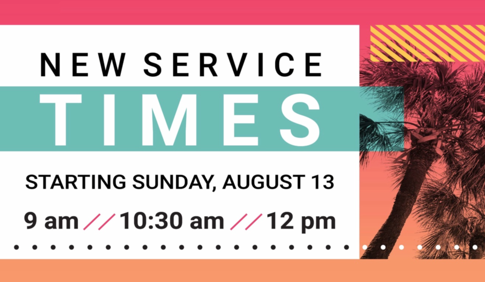NEW SERVICE TIMES - Join us on Sundays as we kick off our new service times for the Ocala Campus.  Our new service times are 9am, 10:30am and 12pm.  Come for church, stay for the PARTY! We will have bounce houses and food!