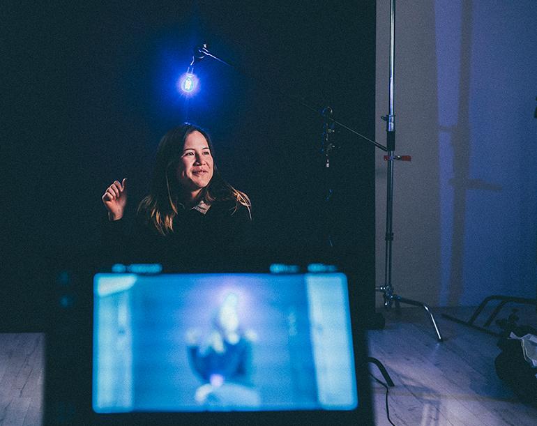 Director Gillian McKercher on set of  Circle of Steel .  Photo Ingrid Vargas.