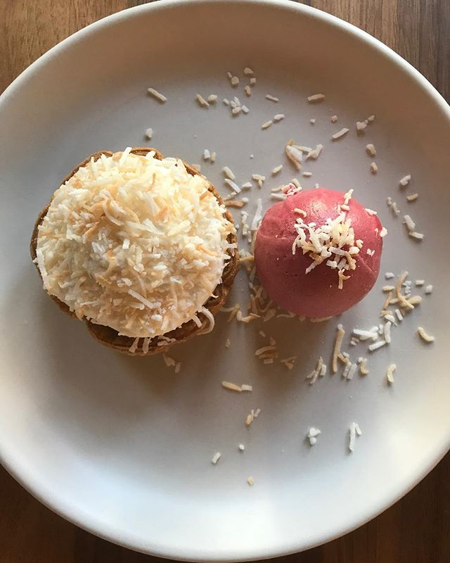 Coconut Cream Pie with Raspberry Sorbet from our Pastry Chef @jrubes22 .