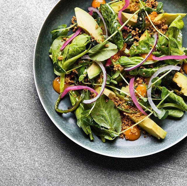 Avocado Salad, Pea Shoots, Yeomul Fennel Kimchi, Crispy Quinoa 📷:by @dylanjho