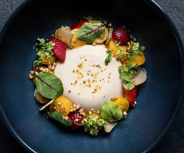 A closer look at our Silken Tofu, Cherry Tomato, Strawberry, Puffed Buckwheat, Minari Vinaigrette