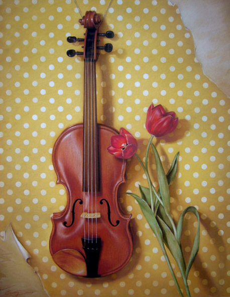 Violin and Tulips