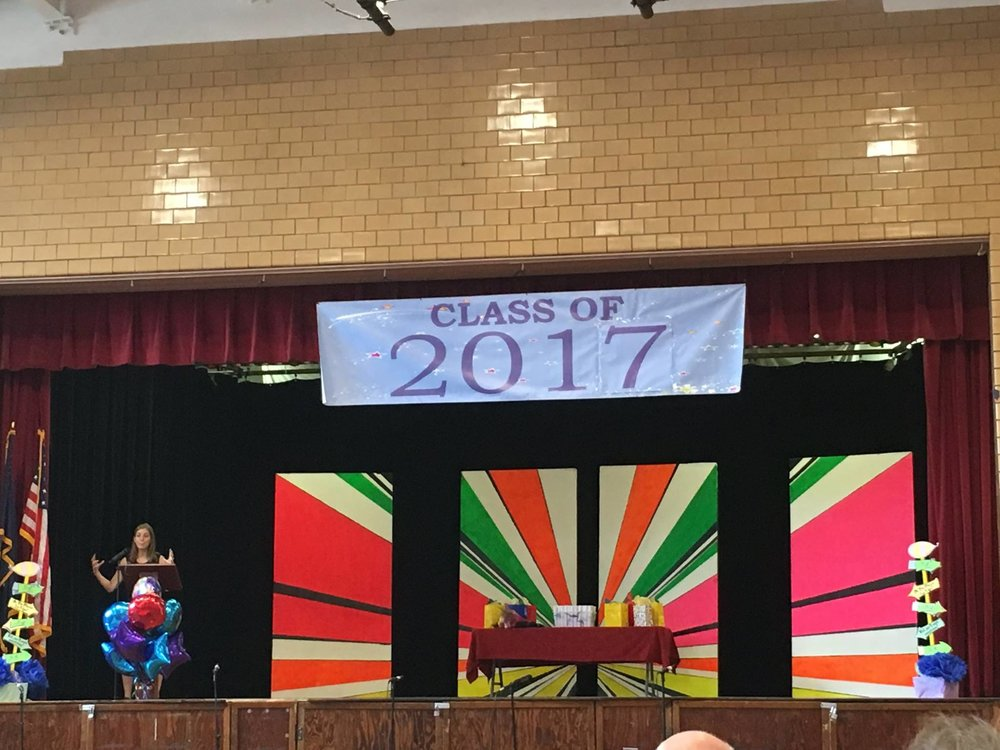 Giving a graduation speech at an elementary school in Brooklyn -- friendship, sea pickles, flunking band, and advice for middle school!