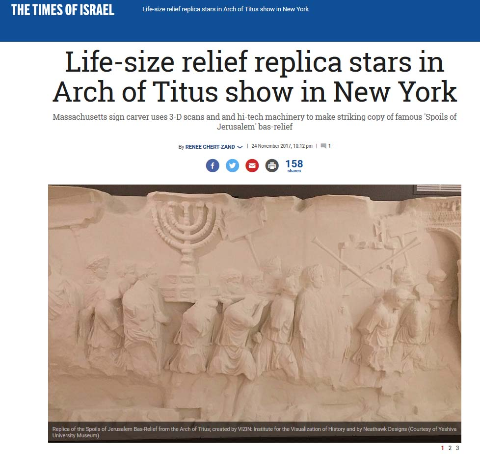 The Times of Israel Article - Renee Ghert-Zand contacted Lindsay in November 2017 and wrote this amazing article about the sculpture Lindsay replicated.
