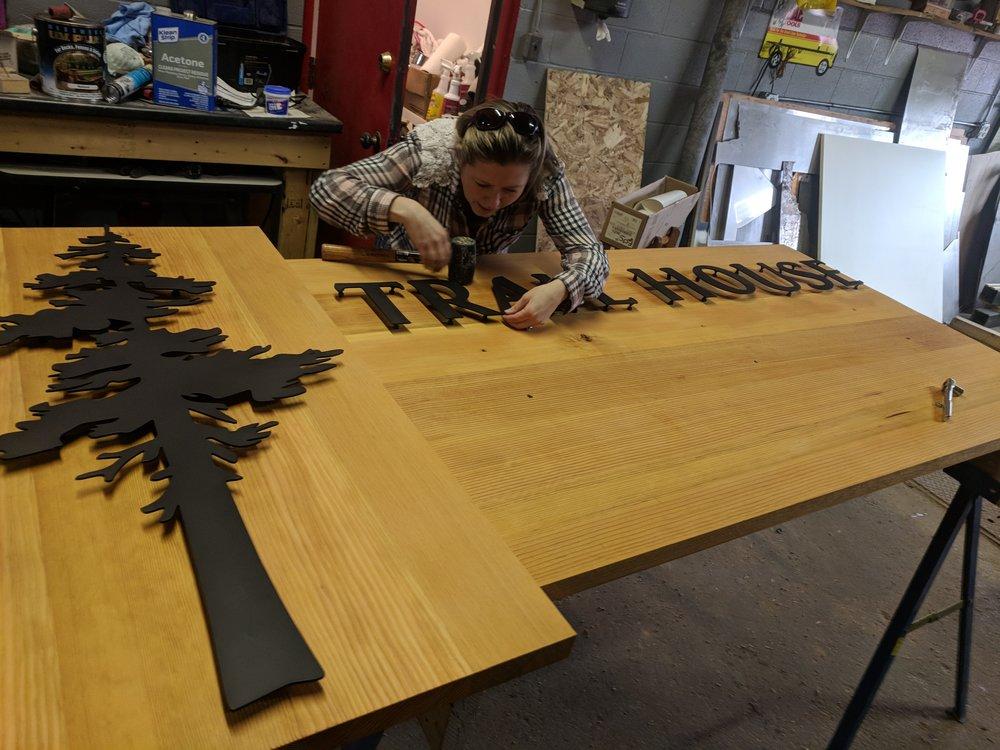 Fir wood with 11GA steel powder coated black