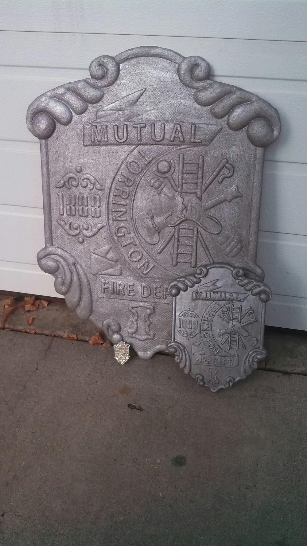 Replica of antique fireman shield