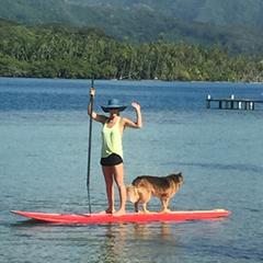 Jennifer Westfall, founder of Te Mana Travels, paddleboarding in the beautiful Tahiti and her islands, including Bora Bora, Taha'a and Rai'atea.