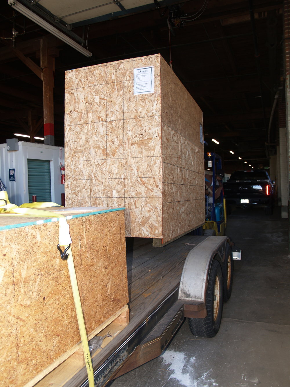Loading the trailer at the warehouse...