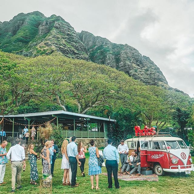 Katie & Nick know how to have a wedding!!! 😍 #TheoTheBus was the life of the party. Huge Mahalo for letting us join in the fun with ✨ @luanaevents @kualoaranch @alohaartisans @accelrentals @mariebloomsfloral @blissdjshawaii  @weddingsbyforrestandlauran @roynuesca @alohaontherocks @smallhourfilmsllc @maleanacosmetics @acakelife @ilgelatohawaii ✨
