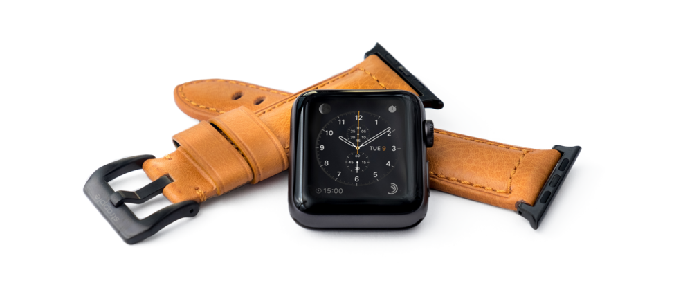 Strapple Ingenium Honey brown orange leather band for Apple Watch