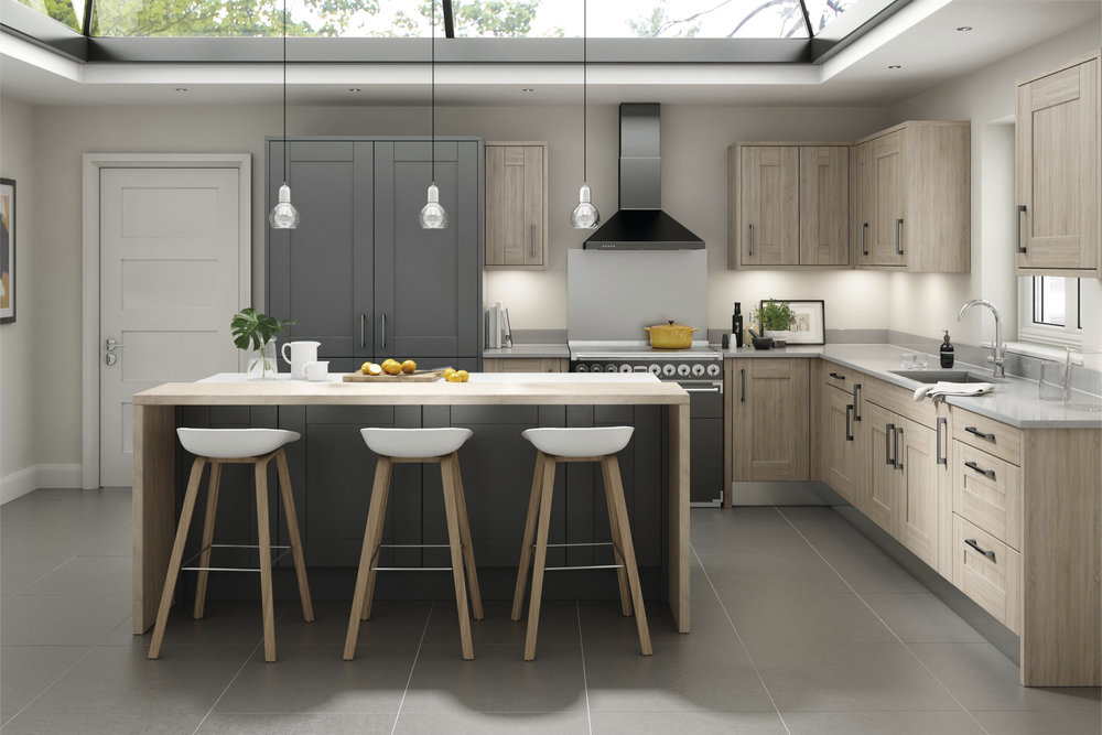 Milbourne £3611  - 7 colours from standardFree Neff oven, hob ,hood, Dishwasher +Granite quartz £2900 + Installation £2500 =Total £9011       Free Consultation!