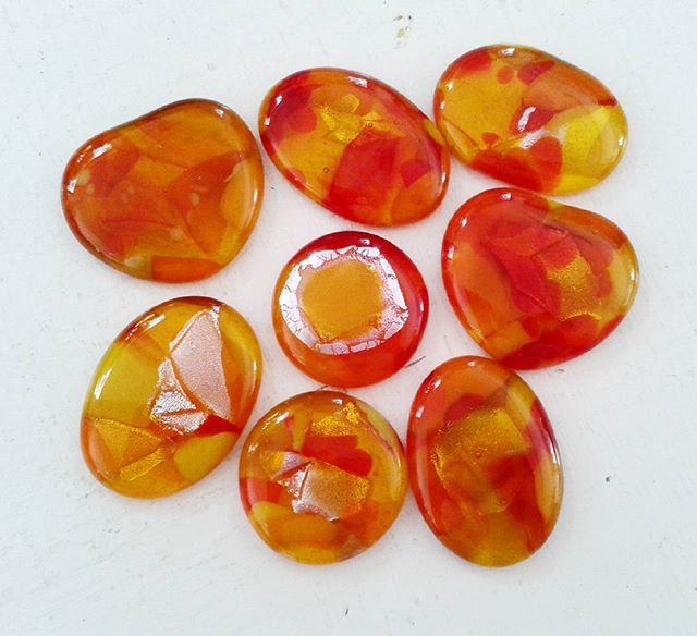 On their way to being new pendants!  Come see us at Art In The Park on Saturday in Romsey at the war memorial park. Part of Romsey Festival and the Beggars Fair.  #castglass #fusedglass #orange #glassjewellery #glasspendants #orangeglass #handmade #romsey #beggarsfair