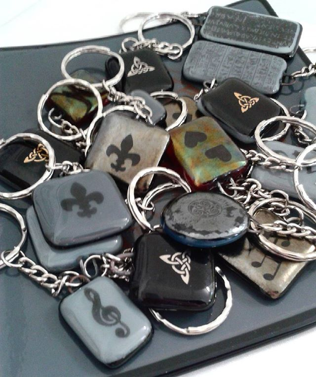 Key rings?  I had leftover bits and thought why not?  People do seem to like them. #fusedglass #keyrings #crafts #hampshire #glass