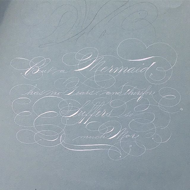 Mid-draft...really shouldn't have had that cup of coffee ☕️ in the middle of this 😅😞 Shaky, shaky! Now to decide the next part... #spencerian #ornamentalpenmanship #offhandflourishing #calligraphy #mermaid #quotes #hanschristianandersen