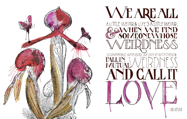 Custom Artwork, Collaboration with Emma James, for The Antqiuaria Post, issue No.3, quote by Dr. Seuss