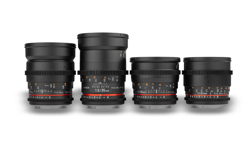 Rokinon Lens Kit - If you need crisp images and follow focus capabilities, then look no further.These Rokinon lenses offer the sharpest image quality around. With aperture settings from 1.5 to 22, you will have no trouble getting the shot you're looking for.Lenses come in 24mm, 35mm, 50mm, and 85mm