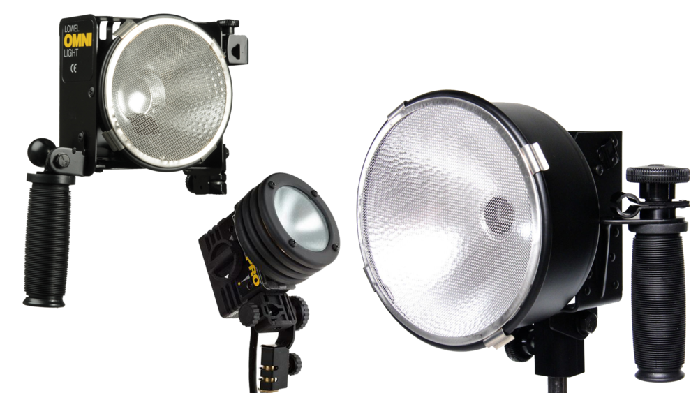 Lowel Lights - Good lighting is essential for any production. These Lowel lights will give your film a high quality look. With stands and barn doors, you'll be ready to go in minutes.Available are two 500w Omni's, one 250w Pro, and one 1000w DP.