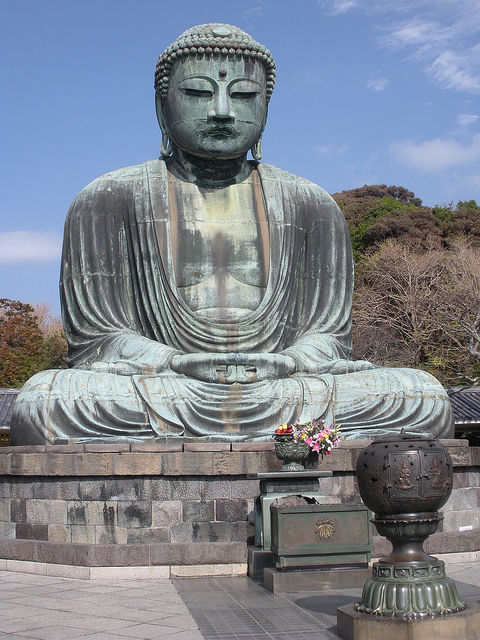 "The Great Buddha at Kotoku-in, Kamakura, 13th century. Bronze, 11.3 meters. Photo by Meher McArthur. All rights reserved. From Meher McArthur, "" Stillness and Strength ,"" Buddhist Door, October 2, 2017. Permission pending."