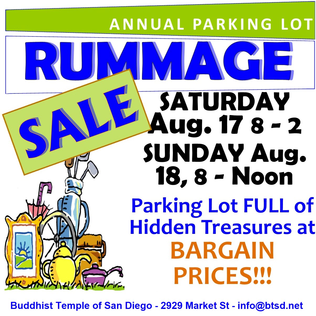 Save the Date for Bargains - 2019 RUMMAGE SALE! — Buddhist