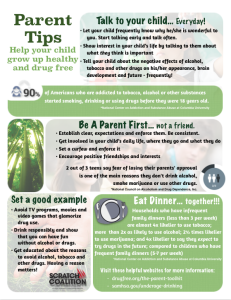 Need help knowing where to start when talking to your child about being drug free? Start here with this tips sheet for ideas and conversation starters. There are links at the bottom if you want to go deeper.