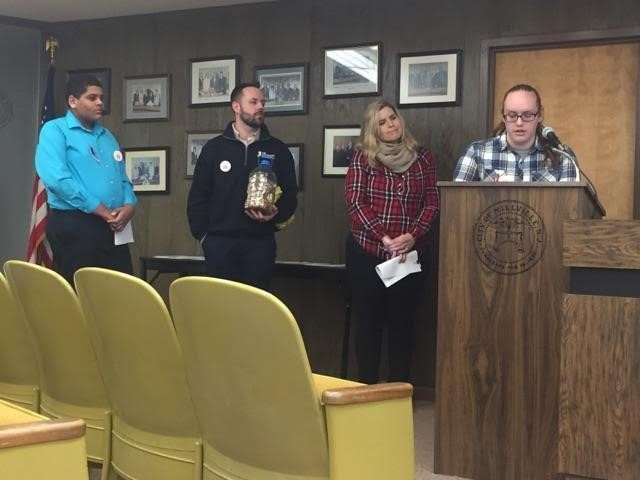 Millville Junior Brianna Messier presenting at a Millville City Council Working Session in March 2018 about the reasons why she is passionate about seeing smoke free places in Millville.