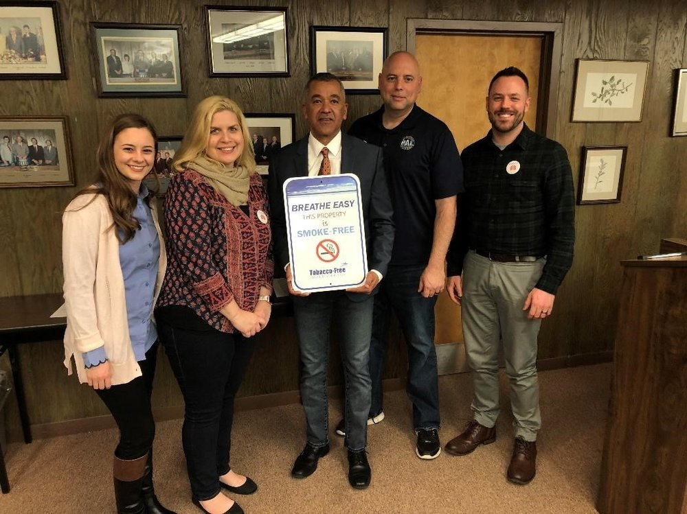 Left to right: Millville LINK's Chelsea Santiago, Tobacco Free for a Healthy NJ's Kim Burns, Millville Mayor Michael Santiago, Millville Officer Rick Kott, and SCRATCH Coalition Coordinator Donald Noblett