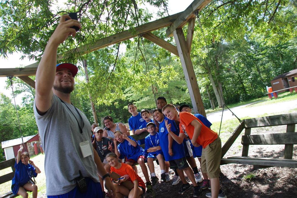 Blue Bandits having fun during Photo                 Scavenger Hunt