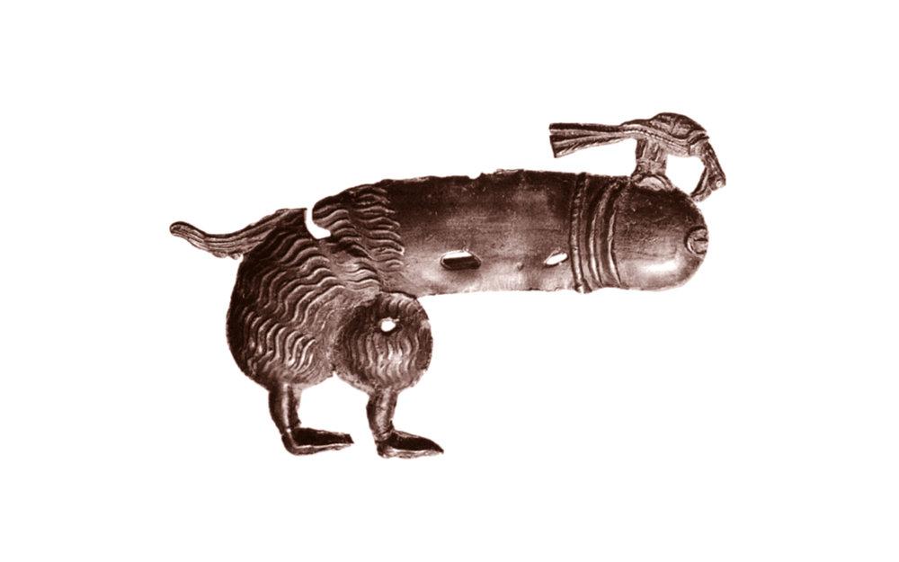 Afbeelding 3: Fallusdier met pikkende vogel, 1350-1400, 47 x 69 mm, gevonden Rotterdam, Rotterdam BOOR