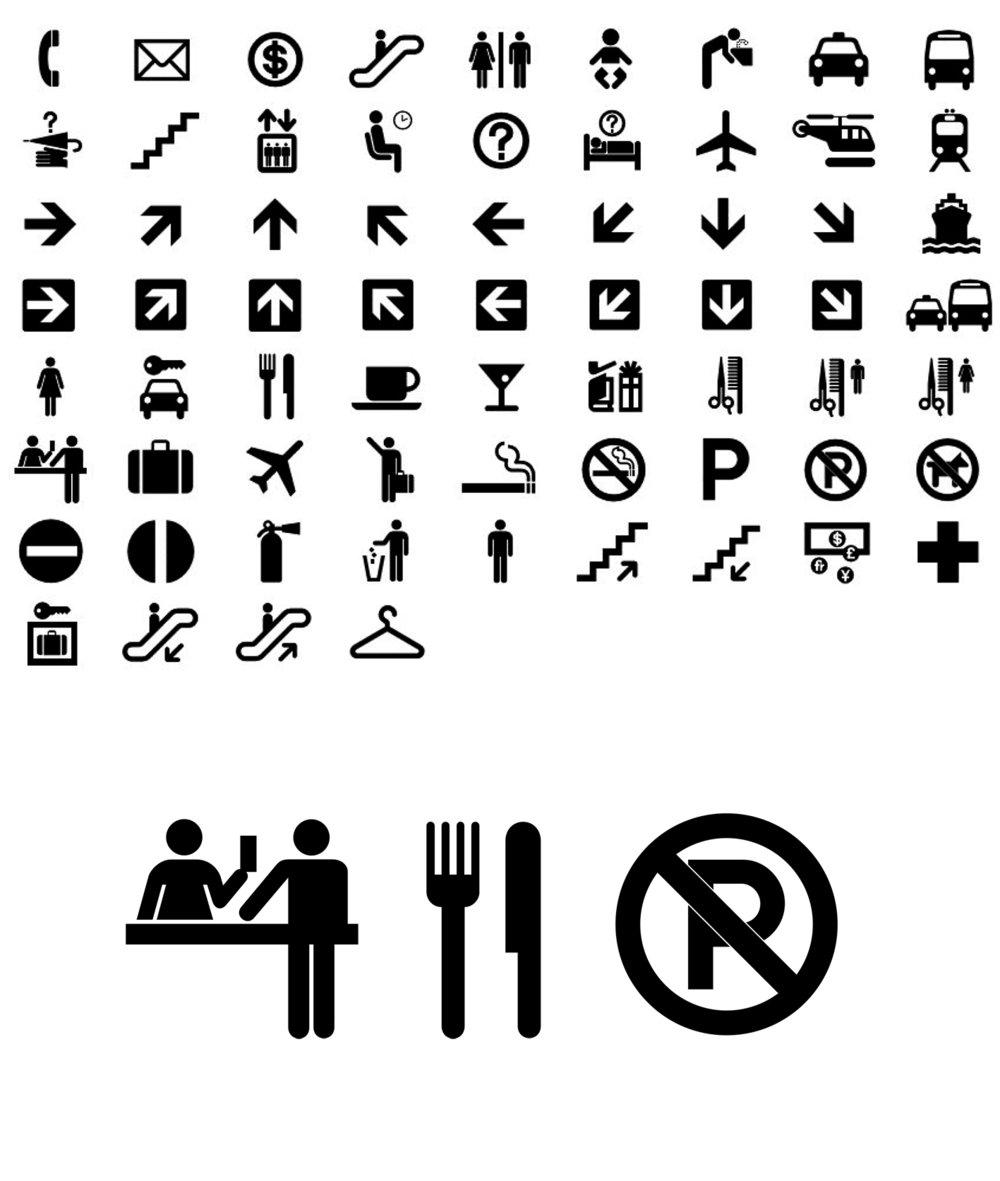 Afbeelding 7: ISO 7001 symbolen. Ontwerp Roger Cook en Don Shanosky, 1974.