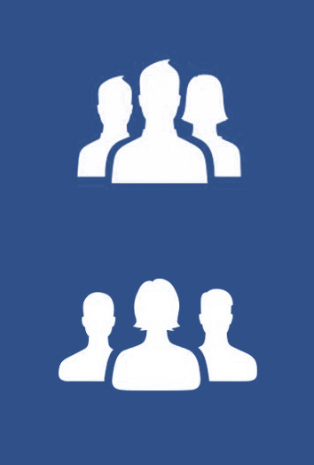 Fig. 9: Facebook group symbol. Above: old design. Below: new design by Caitlin Winner. Copyright Facebook.