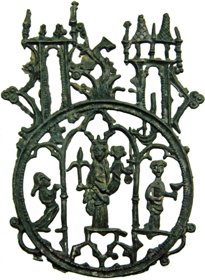 Afbeelding 4: Insigne van Maria tussen Johannes de Evangelist en een pelgrim, boven: de bosboom van Den Bosch tussen twee torens, 's-Hertogenbosch, gevonden in Mechelen, lood-tin, 83 x 61 mm, Mechelse Vereniging voor Archeologie, PT-109-36-1 (HP3 2560)