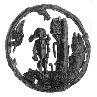 Badge with wild man holding club standing next to tower in round frame, lead-tin alloy, 1400-1449, Van Beuningen family collection, Langbroek