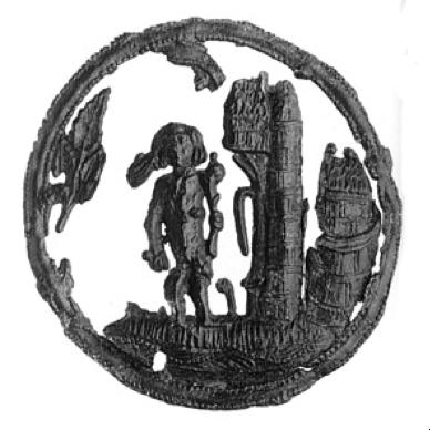 Insigne van wildeman met knots bij kasteeltoren in ronde omlijsting, lood-tin, 1400-1449, collectie Familie Van Beuningen, Langbroek