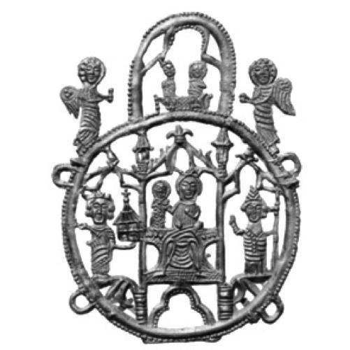 Insigne van tronende Maria met Kind rechts van haar, Karel de Grote met model van paltskapel en bisschop met staf aan weerszijden, onder een arcade in ronde omlijsting, daarboven kroning van Maria door Christus in ovale omlijsting, aan weerszijden geflankeerd door engelen, gevonden in Dordrecht, lood-tin, 1325-1374, collectie Familie Van Beuningen, Langbroek