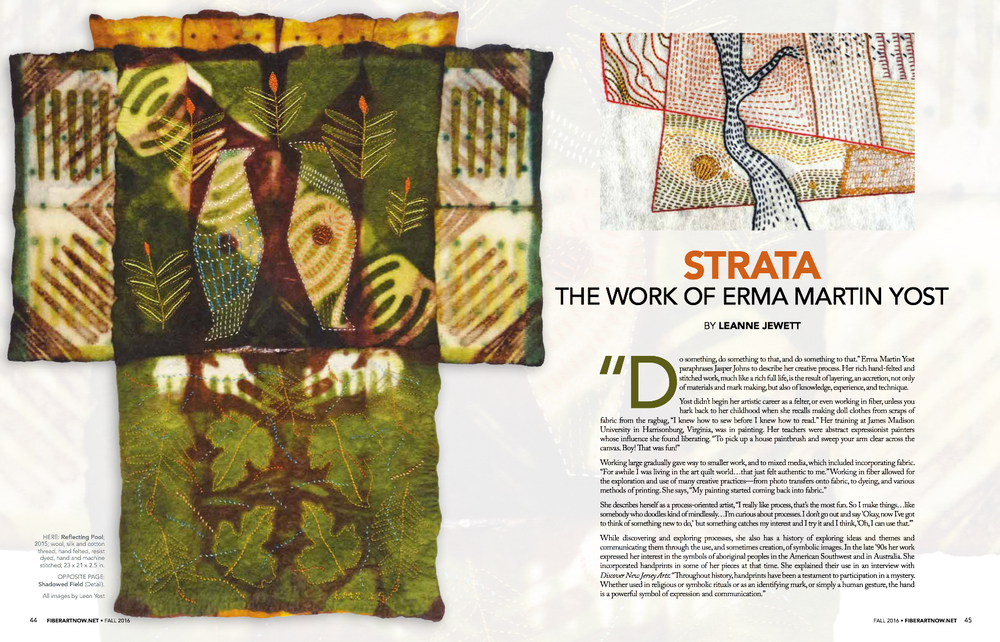 "Read ""STRATA: The Work of Erma Martin Yost"" from Fiber Art Now. Click the image to VIEW the PDF of the Article."