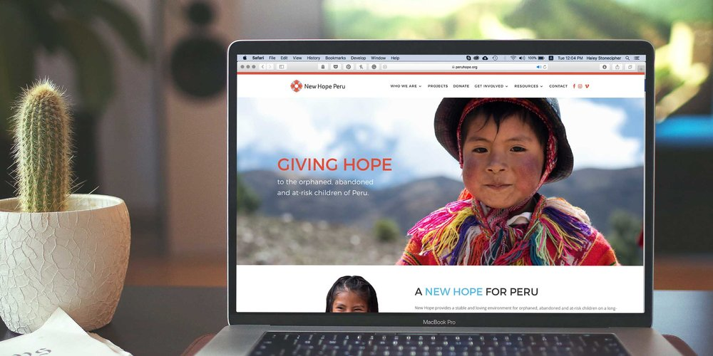 Logo applied to New Hope Peru website.