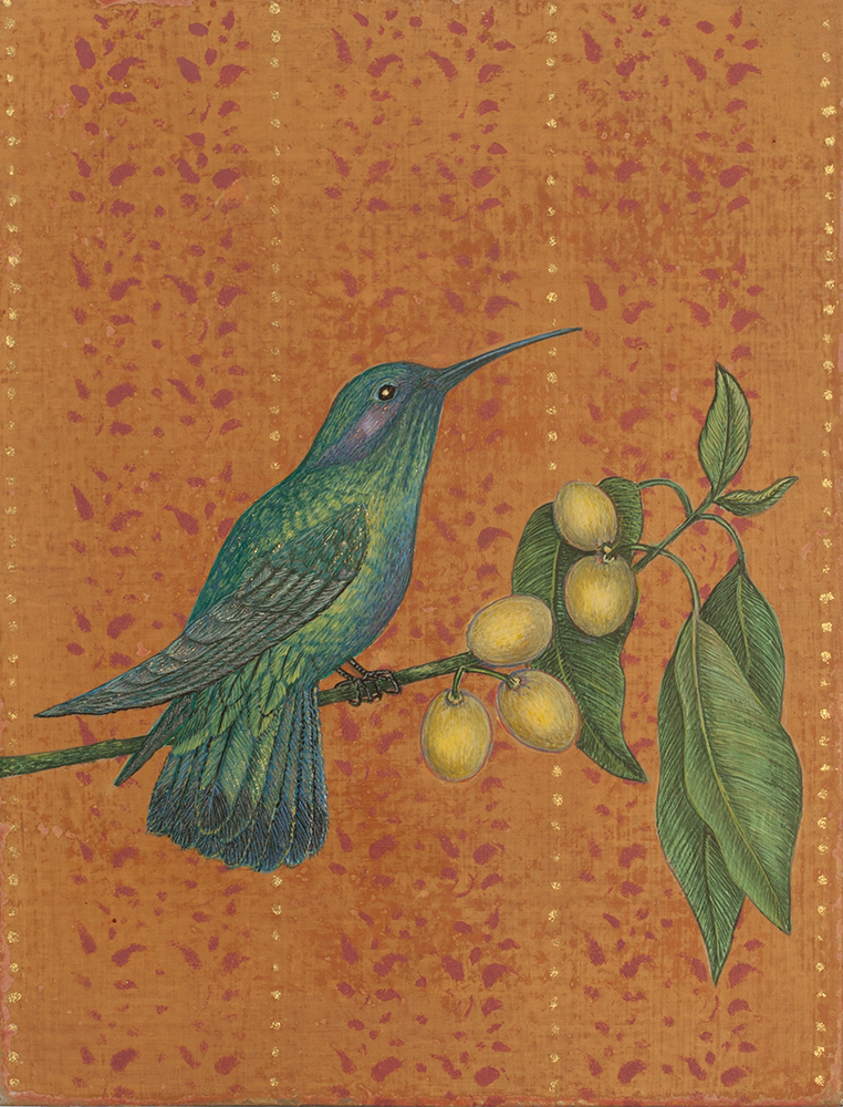 "Antonia Munroe, The Sparkling Violet Ear Hummingbird,  2016, pigment dispersion on panel, 8 1/2 x 6 5/8"" framed"