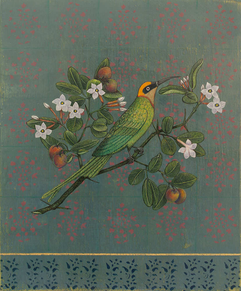 """Antonia Munroe, A Little Green Bee Eater,  2016, pigment dispersion on panel, 12 1/2 x 10 1/2"""" framed"""